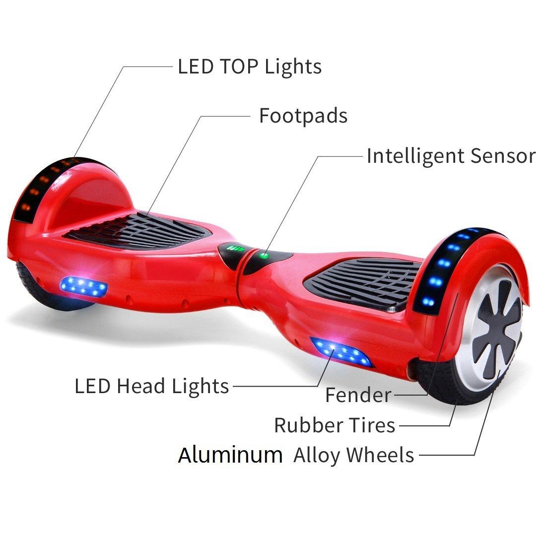 Xe điện đi bộ 2 bánh thông minh đỏ đèn led mô tả