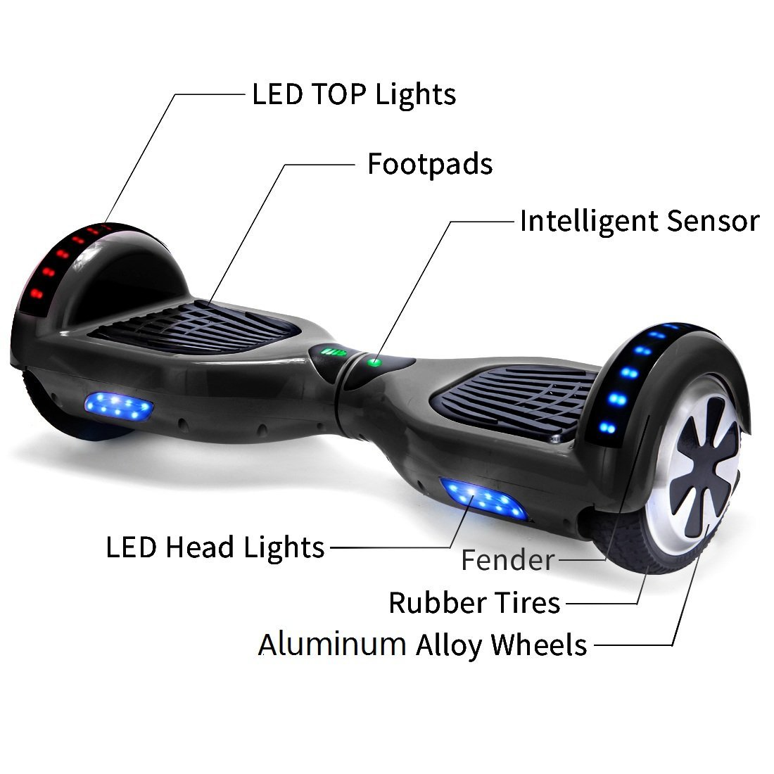 Xe điện đi bộ 2 bánh thông minh đen chi tiết