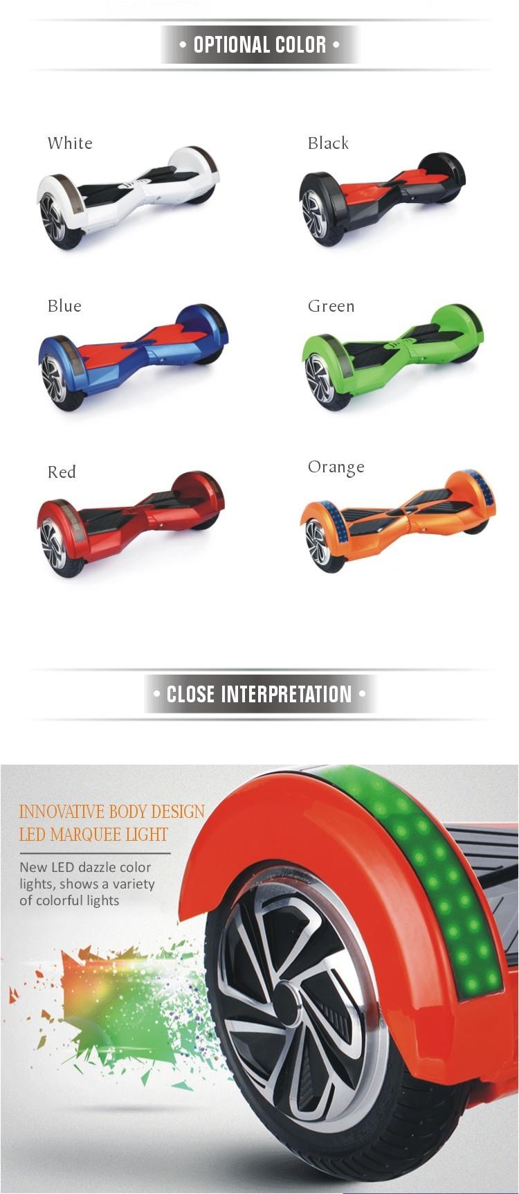 màu sắc xe trượt điện thăng bằng 8 inch chọn lựa