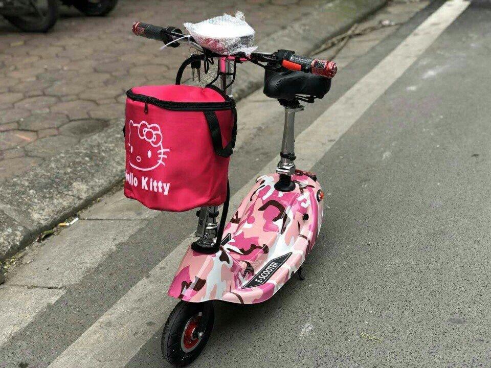 Xe đạp điện mini Hồng trắng