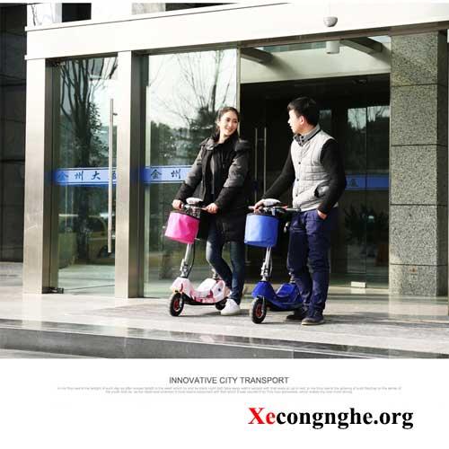 hình ảnh đi xe điện mini escooter
