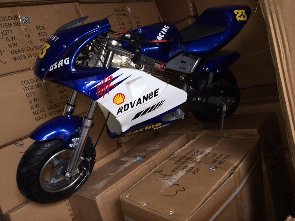 xe moto mini 24v 350w có giảm sóc xanh